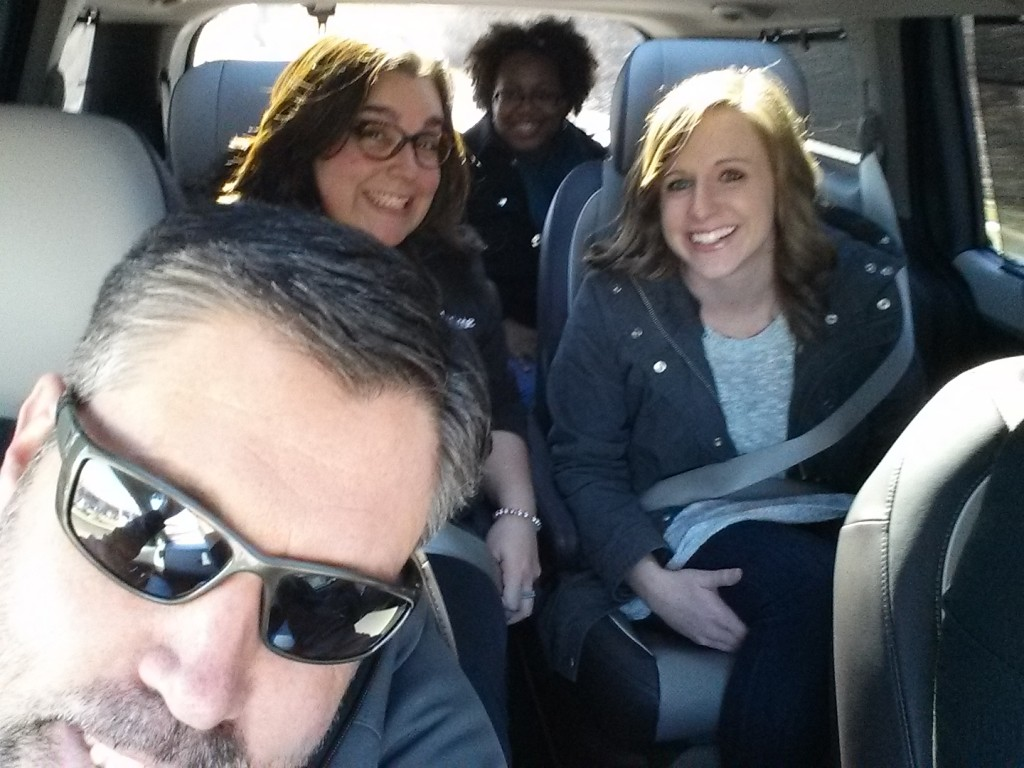 I was lucky enough to join Jen Busfeld (in glasses behind me) and the rest of the Kiddie crew on the Kia shuttle to the conference hotel.
