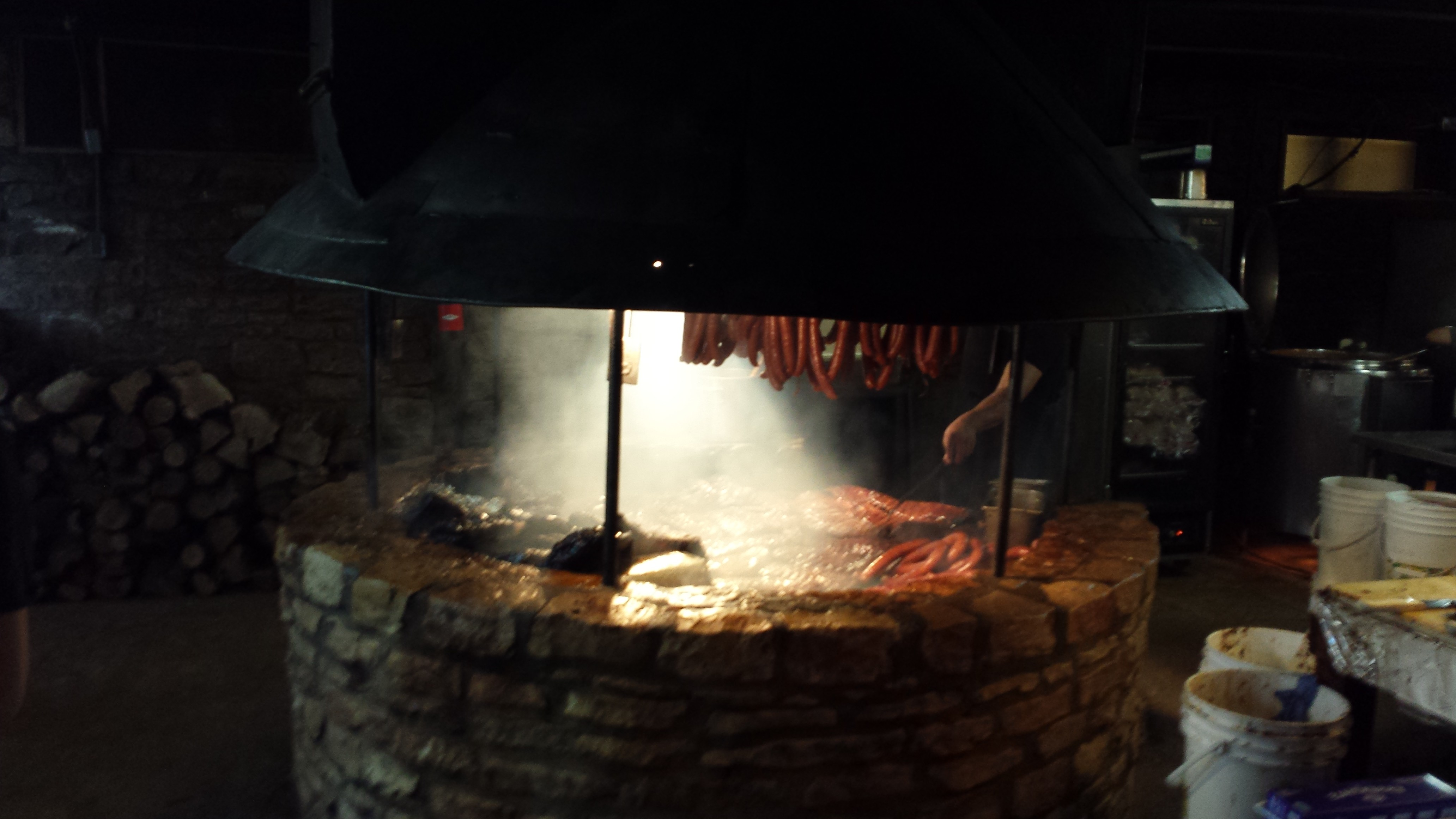 The pit inside the original Salt Lick building. Yum