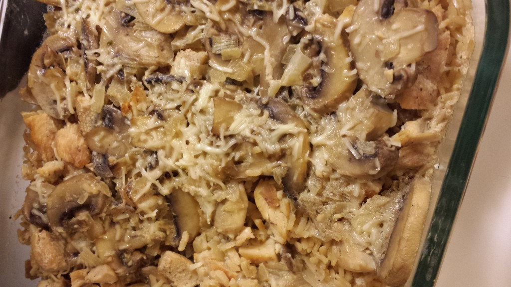 A lightened up chicken marsala with brown rice.