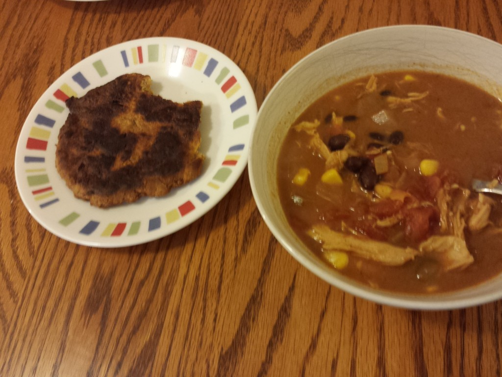Some success. Flatbread and chicken tortilla soup.