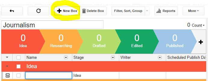 Adding a new article blogpost as a box to Streak CRM pipeline.
