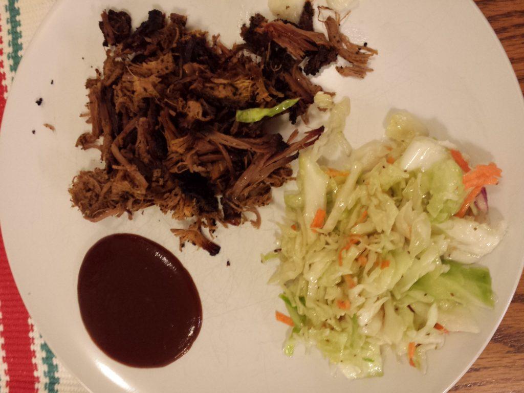 brisket, Salt Lick style slaw and Stubb's sauce