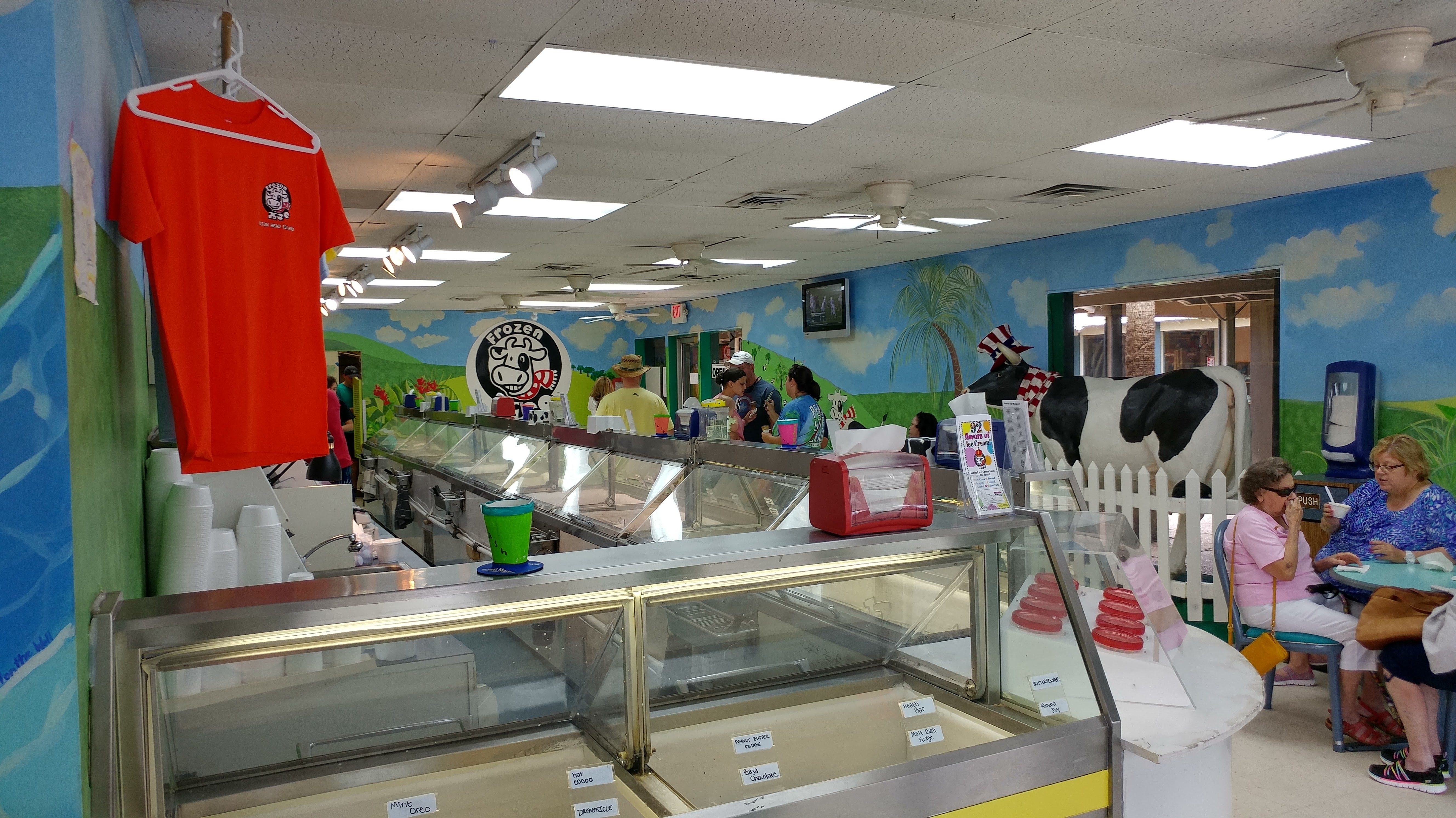 Ice cream freezers line up against one wall inside Frozen Moo Ice Cream.