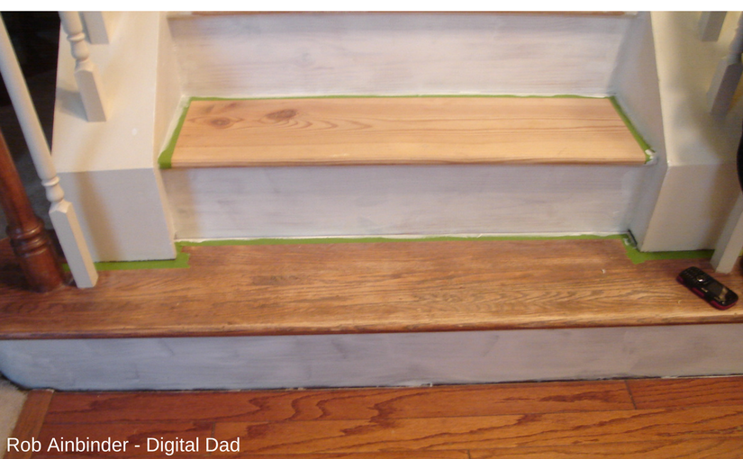 Stairs being primed for the makeover